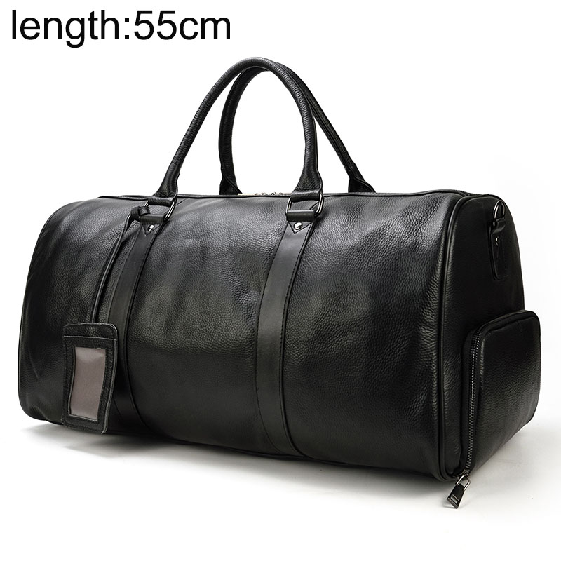 Big Capacity Genuine Leather Travel Bags Men Women Soft Black Cowhide Casual Travel Duffel High Quality Cow Leather Shoulder Bag