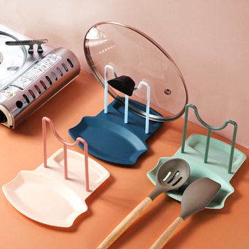 Pot Cover Rack Household Kitchen Table Top Shovel Spoon Holder Non Punching Pot Lid Cooking Dish Storage Racks Kitchen Accessory