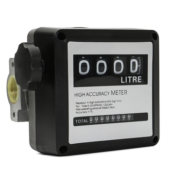 1Pcs Fm-120 4 Digital Gasoline Fuel Petrol Oil Flow Meter Four Digital for Fuel Oil Flow Meter Counter