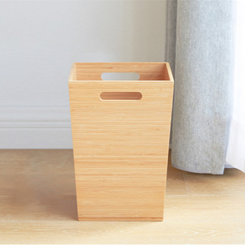 Creative Bamboo Storage Box for Dirty Clothing Natural Wood Laundry Basket Office Desk Organizer Bedroom Rubbish Bin