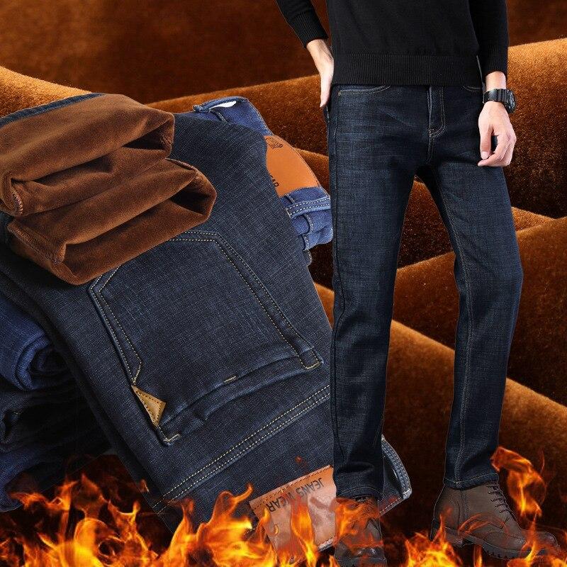 Fashion Classical Winter Men Jeans Elastic Slim Fit Thick Velvet Jeans Stretch Casual Business Pants Black Blue Warm Jeans Men
