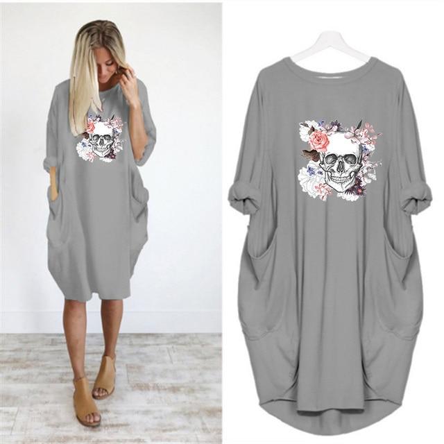 Plus Size 5XL Women's Dress Skull Print Long Sleeve O Collar Pocket Loose Casual Female Dresses Vintage Vestidos Robes Femme 6
