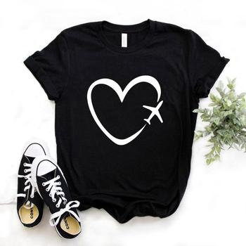 Travel plane heart love Print Women tshirt Cotton Casual Funny t shirt Gift Lady Yong Girl Top Tee 6 Color A-1121 water color planet print tee