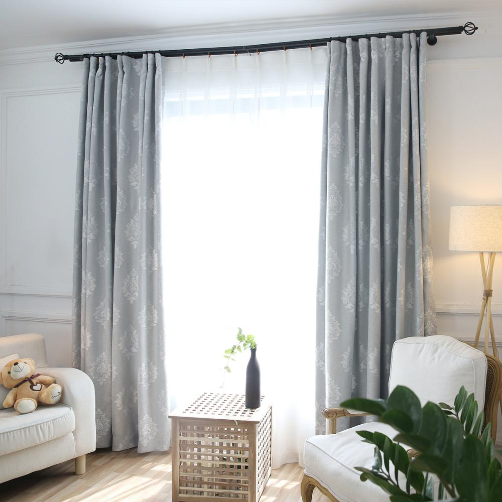 US $4.08 31% OFF|Modern Silver Leaves Chenille Blinds Curtains Living Room  Window Drapes Shade Curtain Panels White Tulle for Rooms S163&30-in ...