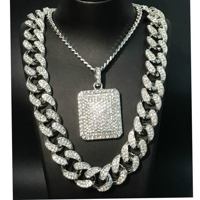 Conjunto de reloj y collar y pulsera y anillo de lujo para hombre, conjunto combinado de joyas de reloj cubano, cadena de Hip Hop 5