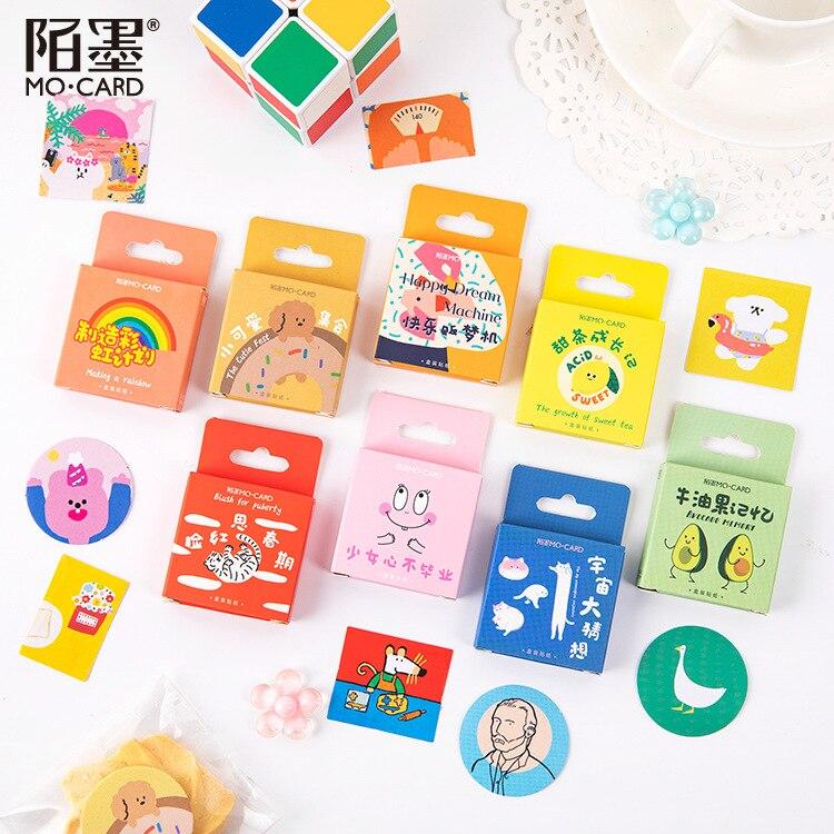 46pcs Avocado Rainbow Decorative Sticker Scrapbooking Stick Label Diary Stationery Album Sticker