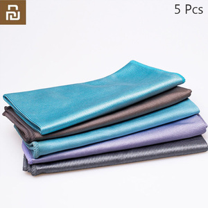 Image 1 - 5Pcs Youpin Jiezhi Microfiber Seamless Towel Strong Water Absorption Kitchen Rag Glass Cleaning Tool Antibacterial Towels h30