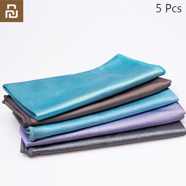 5Pcs Youpin Jiezhi Microfiber Seamless Towel Strong Water Absorption Kitchen Rag Glass Cleaning Tool Antibacterial Towels h30