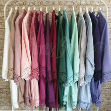 New Rayon New Solid Cotton Lace Trim Robe  Kimono Robes with Lace Trim Women Wedding Bridal Robe Short Belt Bathrobe