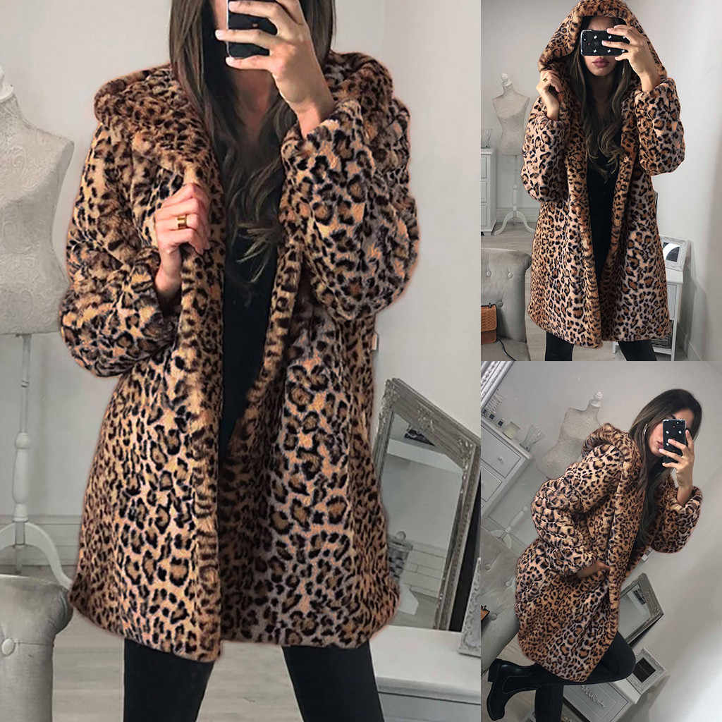 Leopard Teddy Coat Womens Ladies Winter Warm Faux Fur Coat Jacket Leopard Hooded Outerwear Chaquetas Mujer 2019#G2