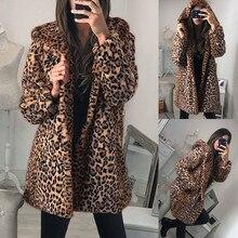 Leopard Teddy Coat Womens Ladies Winter Warm Faux Fur Coat Jacket Leopard Hooded