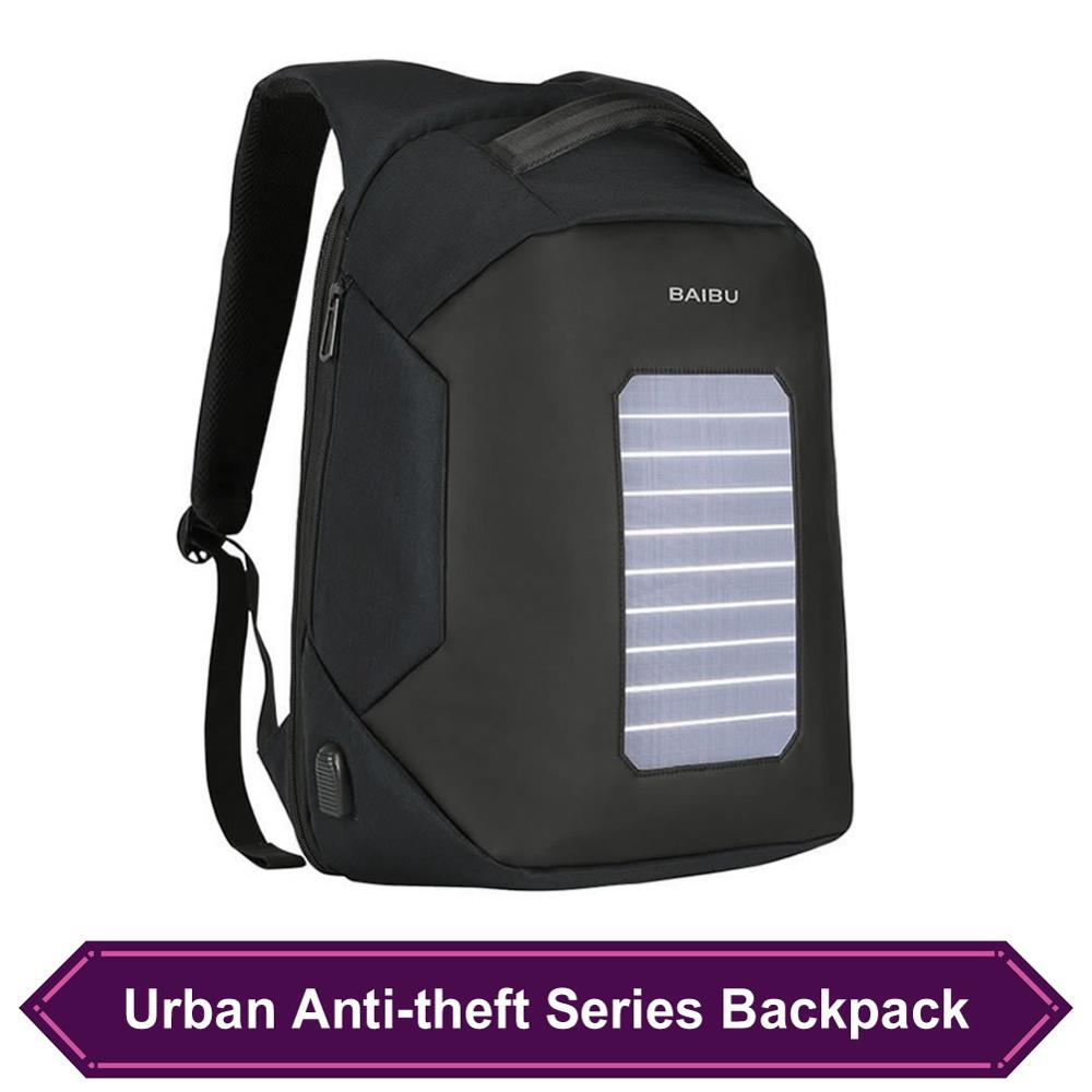 Backpacks For leisure Dark Gray Men Oxford Waterproof Backpack Antitheft Daily Bag with External USB Charging Port