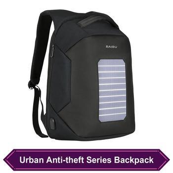 Urban Anti Theft Backpack External USB Charging School Bag Men Laptop Bag Leisure Travel Solar Rechargeable Smart Waterproof