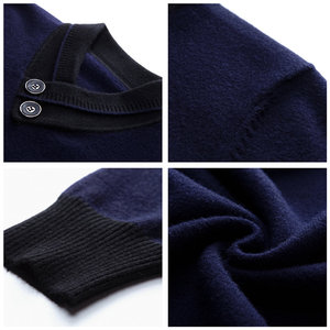 Image 5 - COODRONY ブランドセーター男性秋冬厚手暖かいカシミヤウールプルオーバー男性ボタンタートルネックプルオムニットトップス 91113