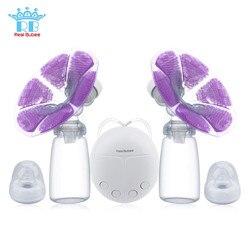 Real bubee único/duplo bomba de mama elétrica com garrafa de leite infantil usb bpa livre poderosas bombas de mama do bebê amamentação