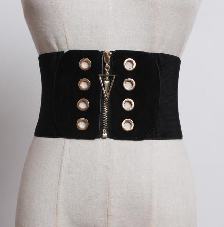 Women's Runway Fashion Elastic Zipper Cummerbunds Female Dress Coat Corsets Waistband Belts Decoration Wide Belt R1758