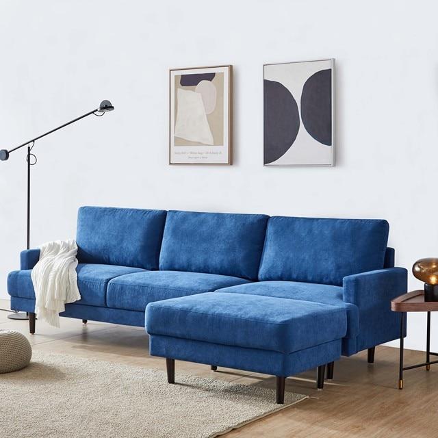 "[2021]Modern fabric sofa L shape, 3 seater with ottoman-104"" Blue 2"