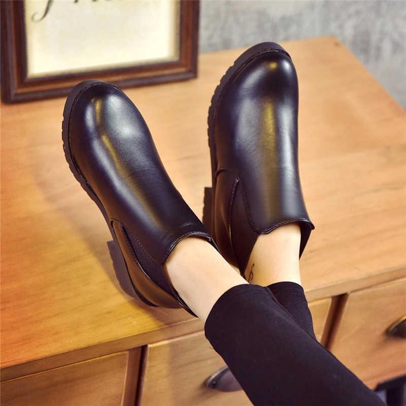 Frauen Stiefel Schwarz Retro Chelsea Stiefeletten Frauen 2019 Westlichen Leder Niedrigen Flachen, Nicht-Slip Frauen Stiefel Winter In stiefeletten 6 #5