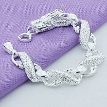 New 2019 Trendy 925 Sterling Silver White Chinese Dragon Chain Bracelets For Men Fashion Jewelry Pulseira Male