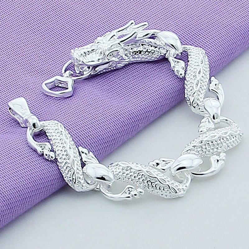 Sterling Silver White Chain Bracelets For Men Fashion Jewelry Pulseira Male