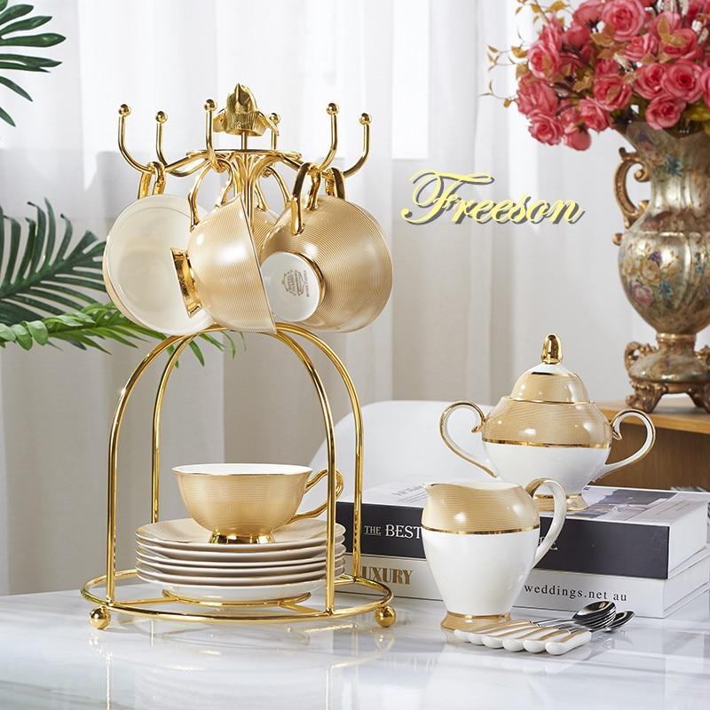 Luxury Gold Bone China Coffee Set Porcelain Tea Set Advanced Cup Ceramic Mug Pot Sugar Bowl Creamer Teapot Drinkware Coffeeware