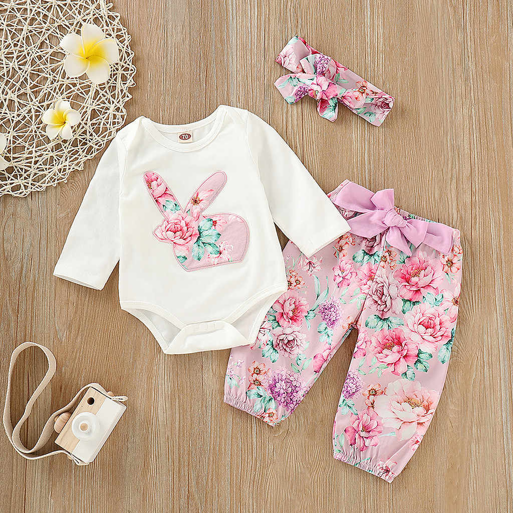 Floral Print Infant Baby Girls Easter Day Rabbit Bodysuit Romper+Pants Outfits newborn baby girl clothes roupa infantil menina