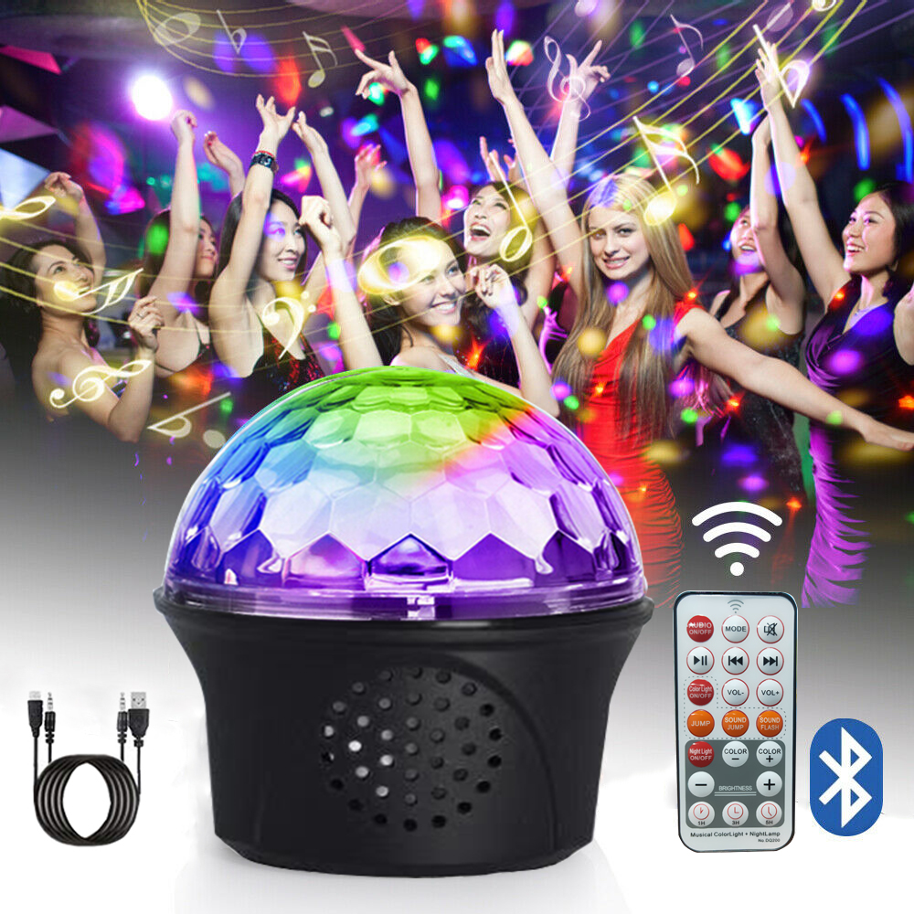 9 Color Bluetooth Disco Ball Light LED RGB Three-in-one Laser Party Light Mini DJ Stage Lamp Colorful Projector Lamp Sounder