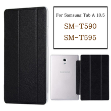 Tablet case for funda Samsung Galaxy Tab A 10.5 2018 case SM-T590 SM-T595 T597 PU leather flip cover stand case protective shell protective flip open pu leather pc case cover w window for samsung galaxy note 4 black