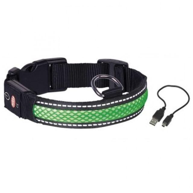 Ошейник для собак NOBBY, светодиодный, зеленый, S/34-41см