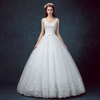 modern simple bridal gown V neck marriage anniversary gown lace up wedding dresses