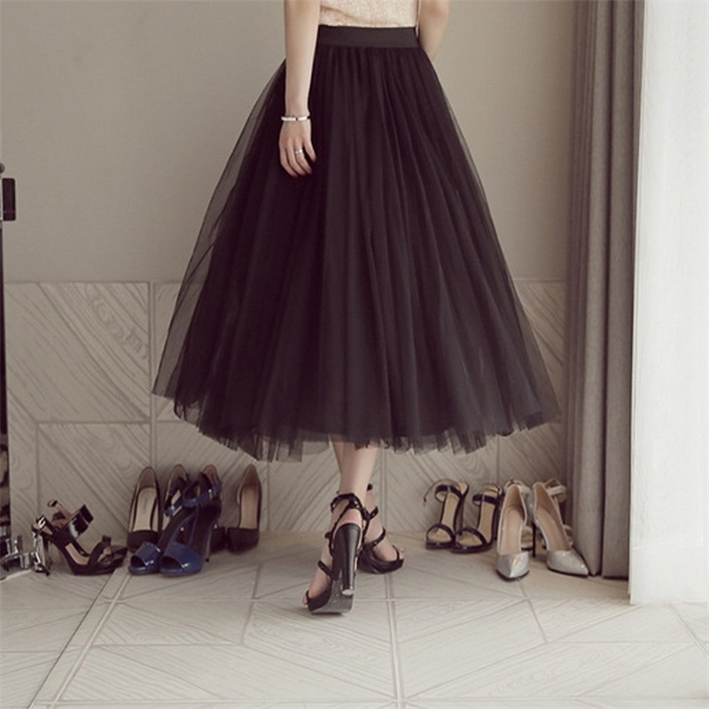 2021 Autumn Winter Vintage Tulle Skirt Women Elastic High Waist Mesh Skirts Long Pleated Tutu Skirt Female Jupe Longue