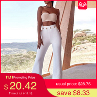 Seamyla 2019 New Summer Flare Pants Women Sexy Skinny Pant High Waist White Red Black Trousers Party Bodycon Bandage Pants Long