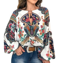 MoneRffi Fashion Women Retro Lantern Sleeve Shirts Ladies National Style Print Shirt 2019 New long-sleeved shirt(China)