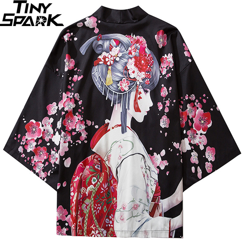 2020 Harajuku Streetwear Kimono Jacket Japanese Geisha Cartoon Hip Hop Men Japan Style Jacket Summer Thin Clothing Loose Kimono