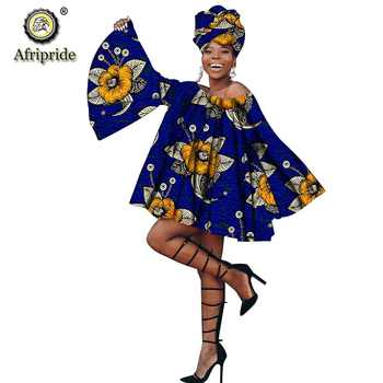 African summer Dress with head wrap for women dashiki print flare Sleeve Plus Size kanga clothing AFRIPEIDE S1925042 - Category 🛒 Novelty & Special Use