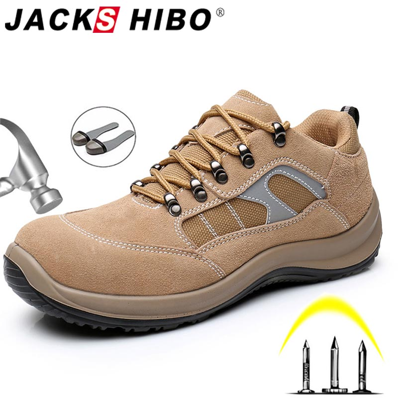 JACKSHIBO Safety Work Shoes Boots For Men Cow Suede Construction Safety Boots Work Steel Toe Cap Indestructible Shoes Boots Men in Work Safety Boots from Shoes