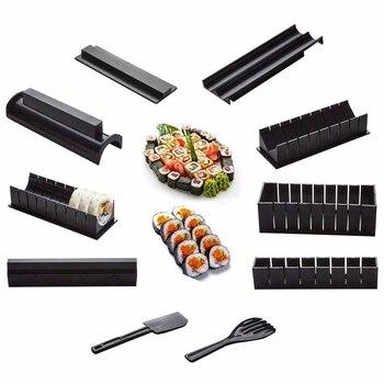 Набор оборудования для приготовления суши, 10 шт./компл., японские рисовые шарики, форма для кексов, многофункциональные инструменты для приг...