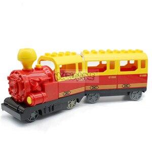 Image 2 - Marumine pil kumandalı Duplo oyuncak trenler yapı taşları çocuk eğitici oyuncak hediye çocuklar için elektrikli tren