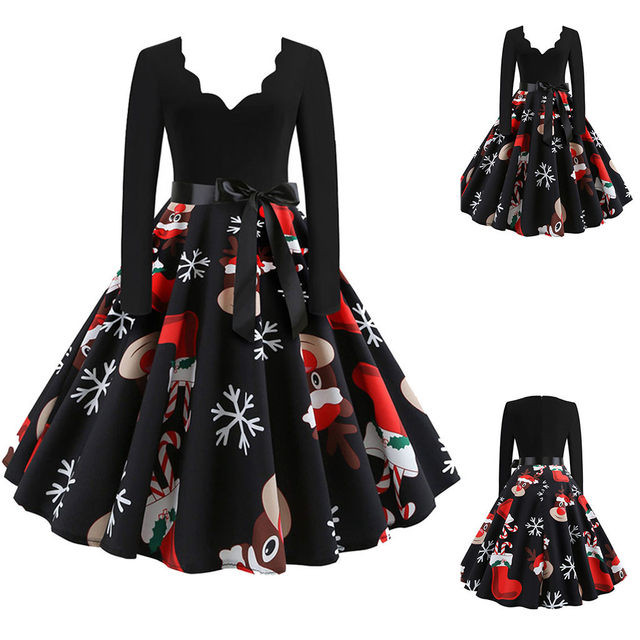 11 Color Vintage Dress Women Plus Size 3XL Sexy V-Neck Long Sleeve Christmas платье Bow Musical Note Print Flare Dress Wholesale 48