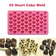 Silicone 55 Heart Cake Mold Chocolate Baking Ice Cube Soap Jelly Tray Pink Drop shipping