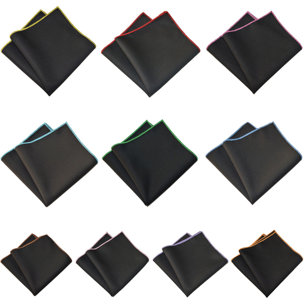 Mens Hanky Pocket Square Colorful Edge Black Handkerchief Party Accessories