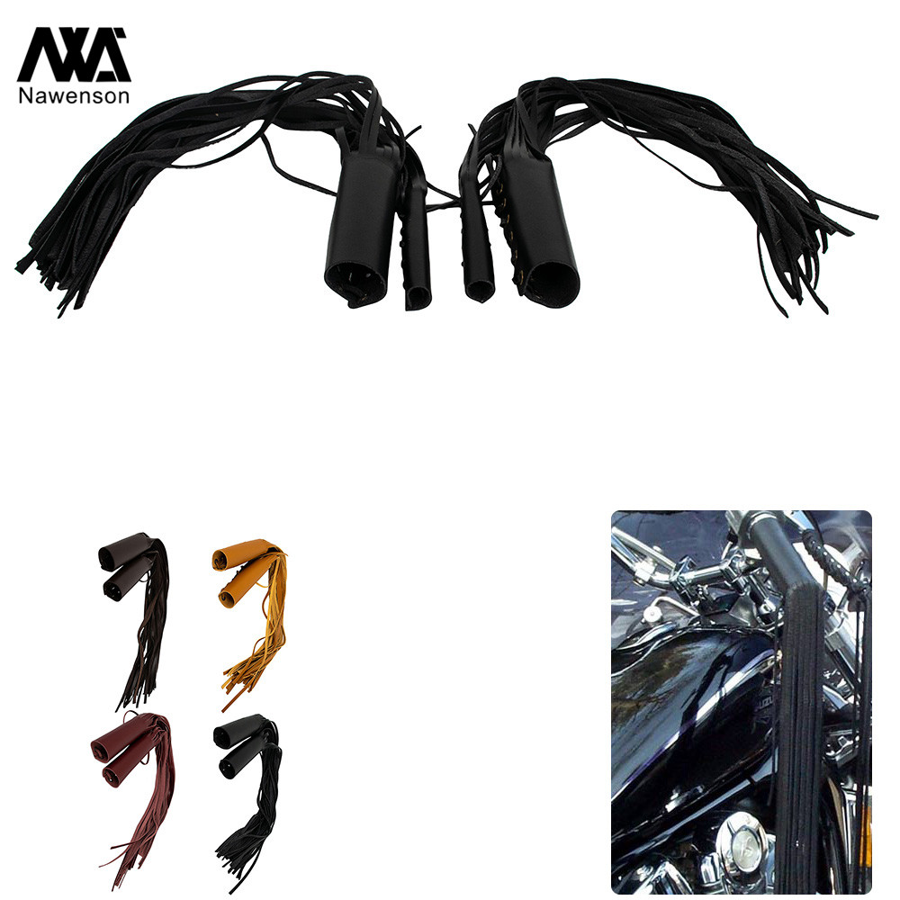 Motorcycle Fringed Hand Grip Lever Cover Set PU Leather Handles Protectors For 22mm 25mm Handlebar For Harley For Cruisers