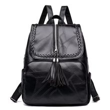 Fashion tassel large capacity women's bag solid color PU leather black multi-functional metal zipper Backpack