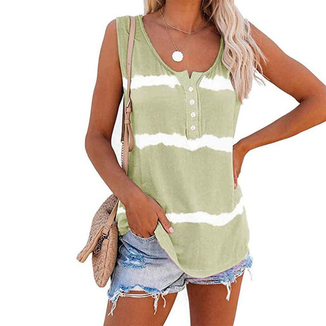 Sleeveless Tie-dye Cotton T Shirt 5