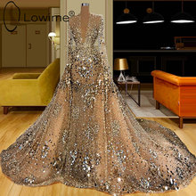 Dubai Luxury Full Beading Champagne Evening Dresses Long Sleeve Sexy Deep V Neck Mermaid Evening Gowns with Detachable Train