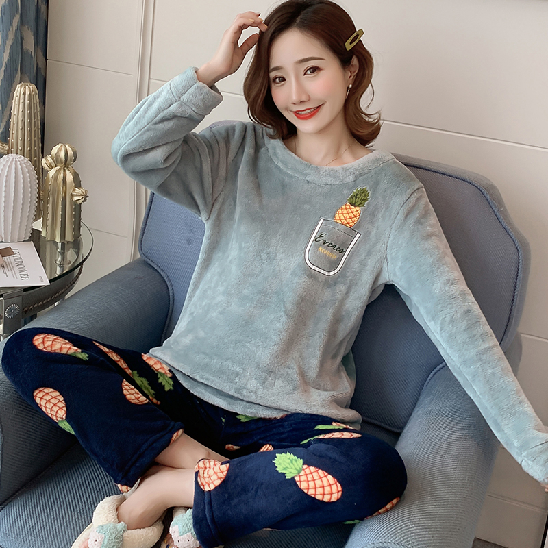 Wholesale WAVMIT Women Warm Flannel Pajama Set Thicken Girl Print Pyjama Set Long Sleeve Sleepwear Suit Women Nightshirt Set
