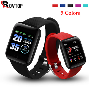 Image 1 - Rovtop Digitale Horloge Smart Android Polsband Sport Fitness Bloeddruk Hartslag Call Bericht Herinnering Stappenteller 116 Plus