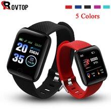 Rovtop relógio digital inteligente android pulseira esportes de fitness pressão arterial e freqüência cardíaca chamada mensagem lembrete pedômetro 116 plus