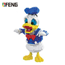 Hc Magic Blocks Donald Duck Mini Blocks Micro Bricks Anime DIY Building Cartoon Toys Auction Model toy Children Gifts 9052