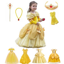 Princess Belle Dress for Girl Kids Floral Ball Gown Child Cosplay Bella Beauty and The Beast Costume Fancy Party
